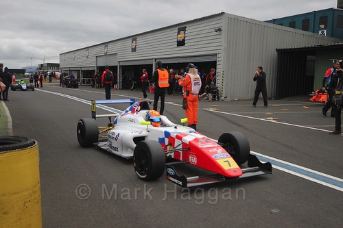 Alex Quinn after the British Formula Four race 2 during the BTCC Knockhill Weekend 2016