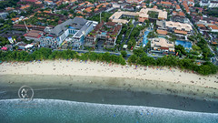 Views overlooking the crowded Kuta beach.