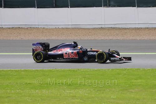 Sérgio Sette Camara driving for Toro Rosso in Formula One In Season Testing at Silverstone, July 2016