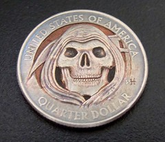 "'Grim Reaper' Clad coin carving • <a style=""font-size:0.8em;"" href=""http://www.flickr.com/photos/72528309@N05/17912578466/"" target=""_blank"">View on Flickr</a>"