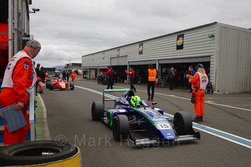 James Pull after British Formula Four race 2 during the BTCC Knockhill Weekend 2016