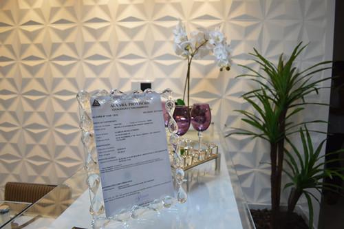 Todos os adornos são da Gift Mania, inclusive este porta retratos de cristal, um luxo!