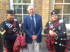 Chairman Roger Potter with the Gurha Pipers