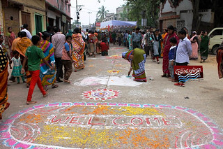 http://bit.ly/1bBy5dd devotee welcoming with rangoli http://bit.ly/1bBy5dd
