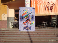 """Follow Me"" Poster in front of Theater Gjilan/Gnjilane"
