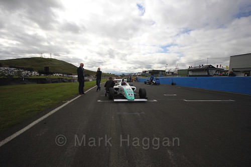 Billy Monger on the grid ahead of the final British Formula Four grid during the BTCC Knockhill Weekend 2016
