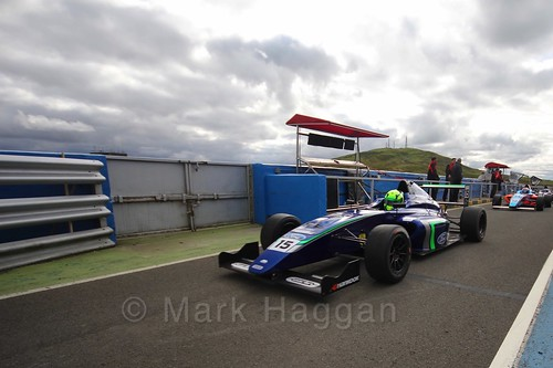 James Pull after the final British Formula Four race during the BTCC Knockhill Weekend 2016