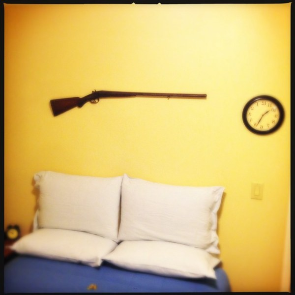 There is a shotgun above our bed #ready4zombies