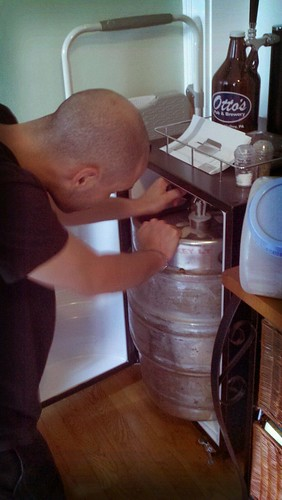 Sliding the Keg into the Kegerator