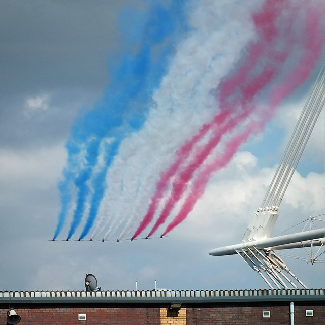 Red Arrows Olympic fly past Millennium Stadium