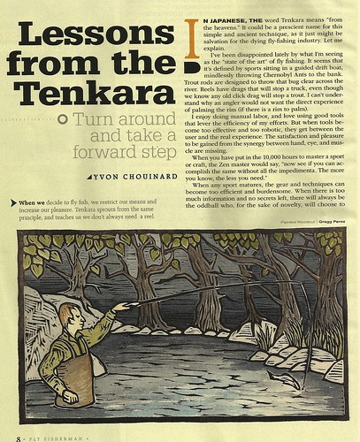 Tenkara Woodcut for Fly Fisherman Magazine by Goyo P