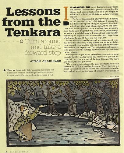 Tenkara Woodcut for Fly Fisherman Magazine by Goyo P