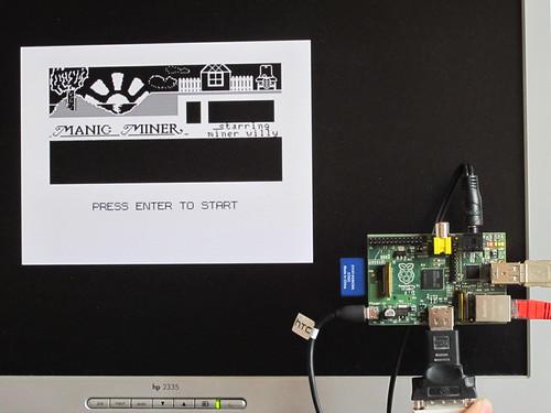 Manic Miner on Raspberry Pi via XRoar Dragon emulator
