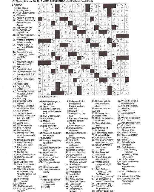 NYT Sunday Puzzle - July 8, 2012