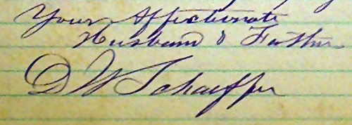 Signature of David W. Schaeffer, from a letter to his family, 29 Aug. 1861