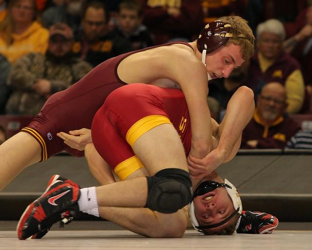 141 - #6 Tommy Thorn (Minnesota) dec. Nathan Boston (Iowa State) 4-0. Photo by Mark Beshey.