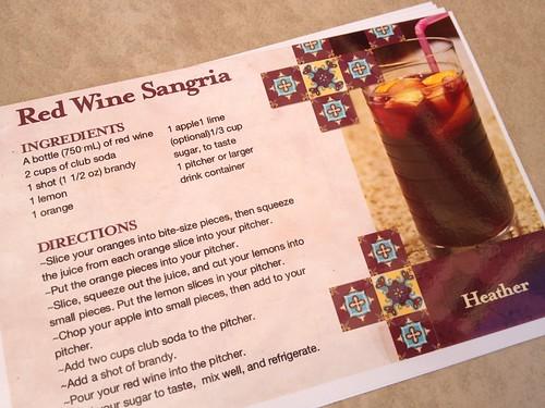 sangria recipe cards