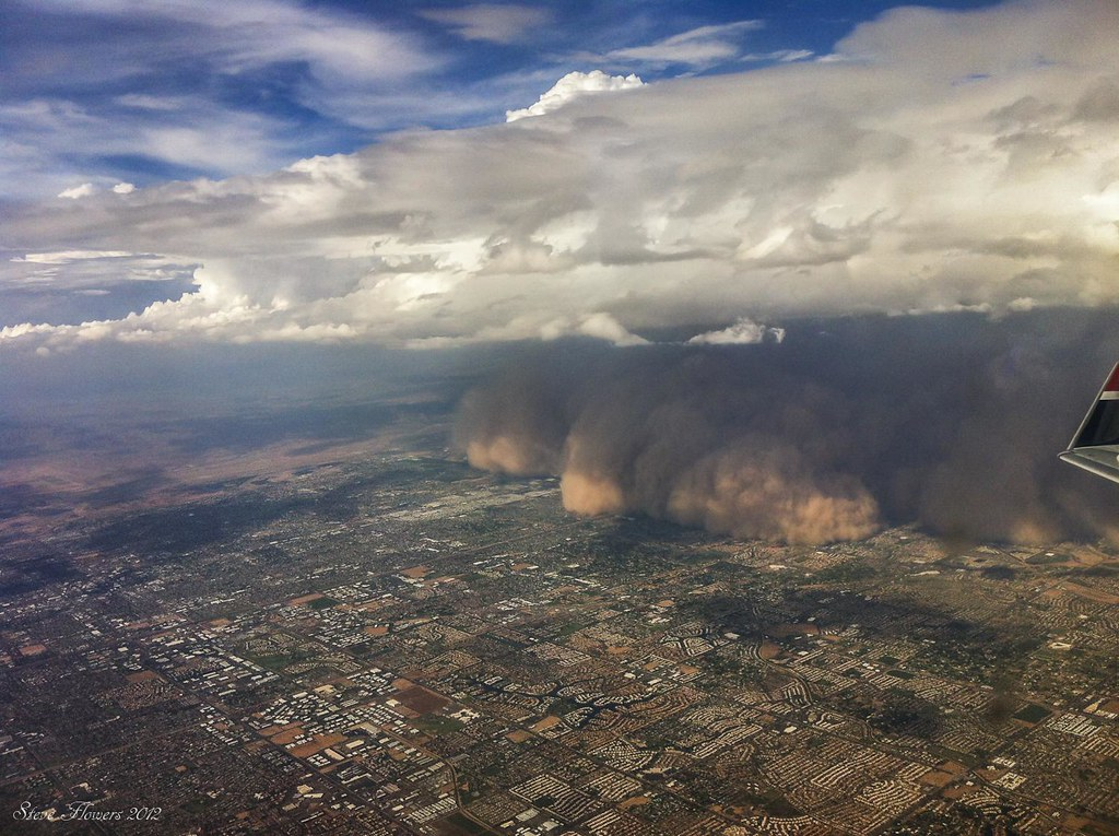 Haboob 2 from the air.  Phoenix Arizona