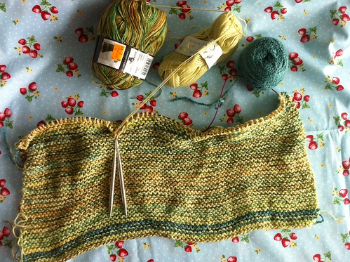 Knitting supplies and project photos