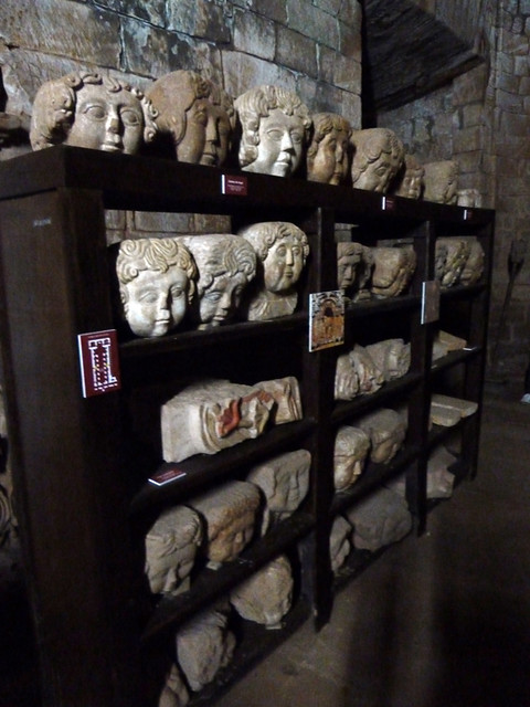 heads on shelves