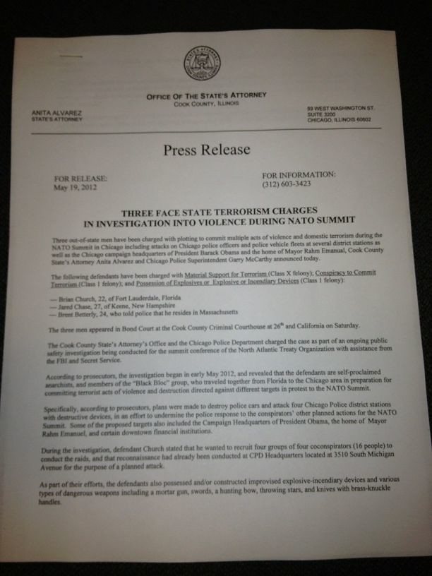 NATO terrorism charges Press Release