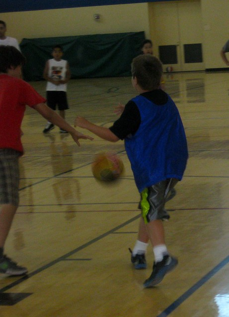 Tony playing basketball; hope to get better shots today.