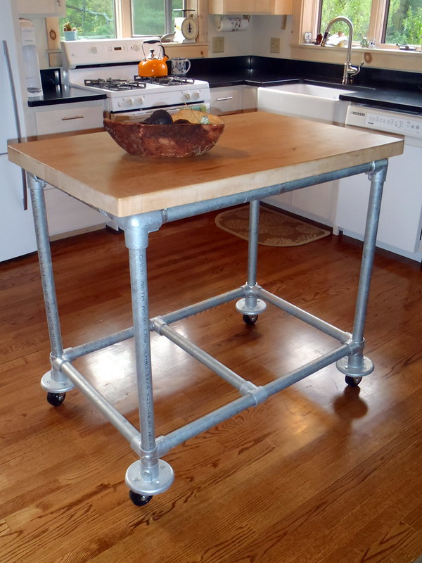 Pipe  Butcher Block Rolling Kitchen Island