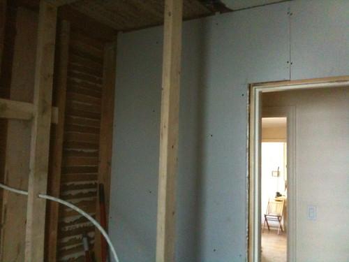 Bathroom Remodel: Day 8, Sheetrock!