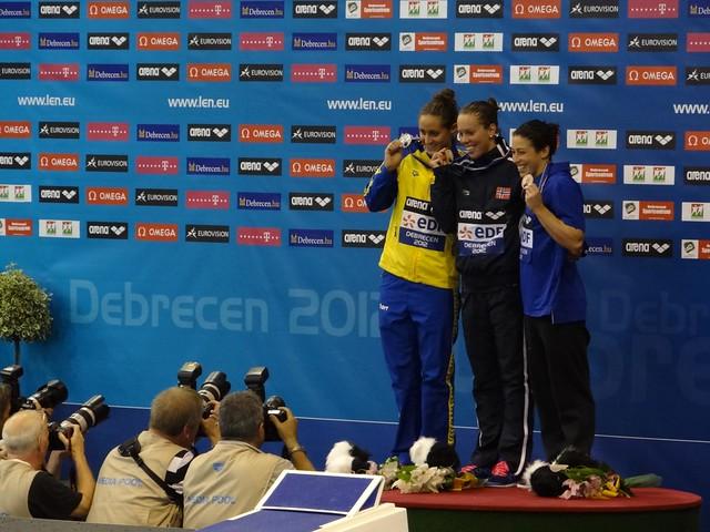 Debrecen 2012 Women's 100 Fly Podium