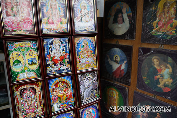 Closer view of some of the deity images