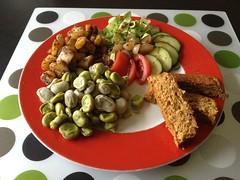 Tofu loaf, broad beans cajun tatoes and salad