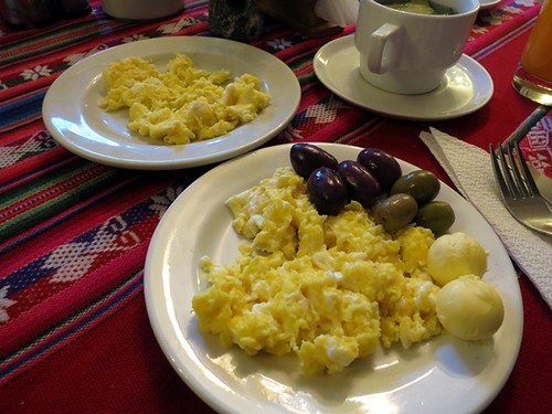Breakfast (scrambled eggs, olives, butter)