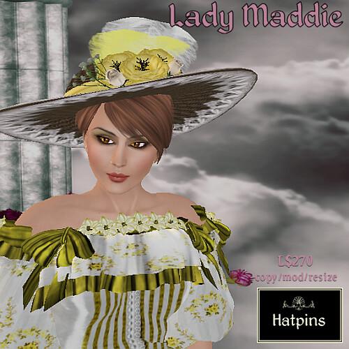 Hatpins - Lady Maddie - Yellow