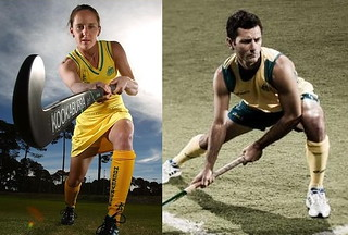 two pictures of people in hockey uniforms. The first is a tight tank top and skirt, the camera low with a view up tot he woman's crotch. The second is a man, short from above in an action stance, wearing a loose tank top and loose mid-thigh shorts.