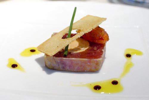 Artisan Foie Gras Torchon and Bigeye Tuna with Mustard Fruit and Saba
