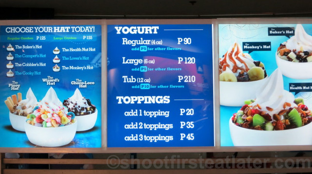 White Hat Italian Yogurt menu
