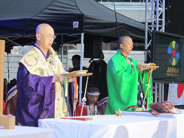 Prayer by Buddhist monks from Narita Shinshoji (temple)