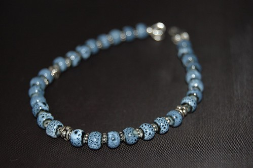 Denim Blue Ceramic and Pewter Bracelet