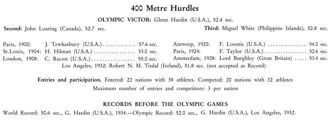 Miguel White Amazing 1936 Olympic 400m Hurdle Bronze 23