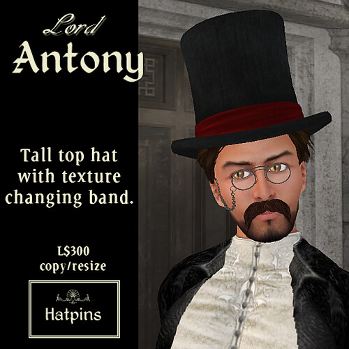 Hatpins - Lord Antony Tall Top Hat