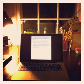 Writing a story with scrivener.