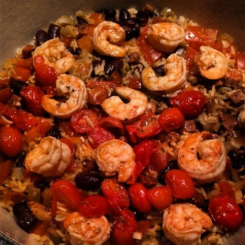 Red beans & rice with chorizo, shrimp