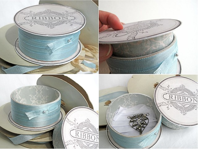 Round 3D challenge - faux ribbon spool with hidden compartment - mel stampz