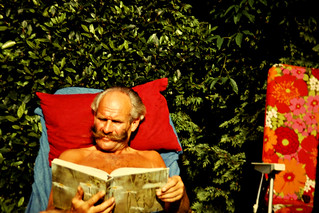 The moustache, the book and the sun-lounger