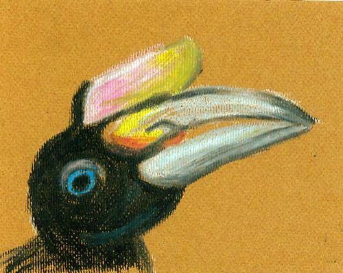 Hornbill. Oil pastels, Ulla Hennig April 2012