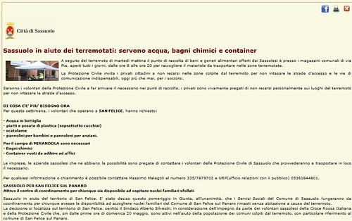 ITALIA - EMERGENZA EMILIA - TERREMOTO: CITTA' DI SASSUOLO (MO) - Sassuolo in aiuto dei terremotati: servono acqua, bagni chimici e container, CITTA' DI SASSUOLO (29-30/05/2012). by Martin G. Conde