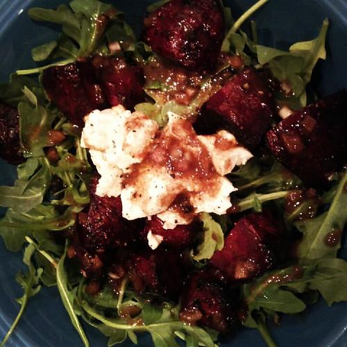 Roasted beet-honey chevre-arugula salad