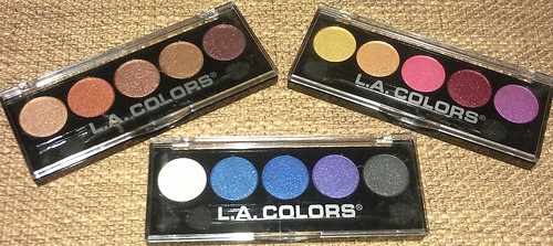 L.A. Colors 5 Color Metallic Eyeshadow Palettes Dessert Dune Wildflowers Devious