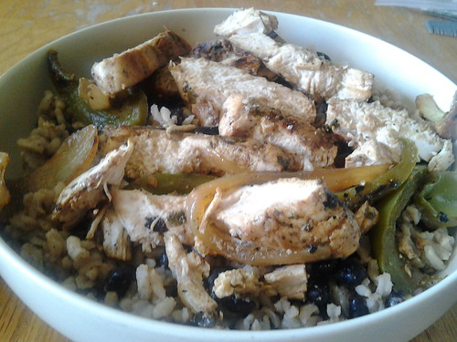 Leftover cilantro-line chicken, grilled peppers and onions, homemade black beans and rice