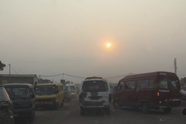 The road heading into Kinshasa from Ndjili airport